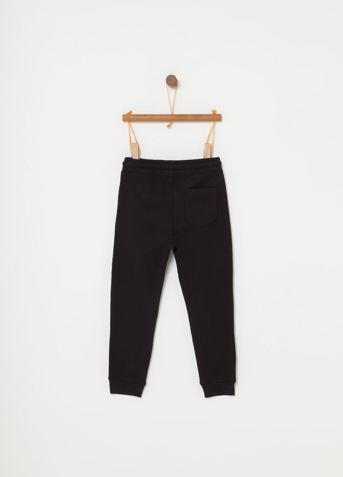 Terry towelling cotton trousers with inserts