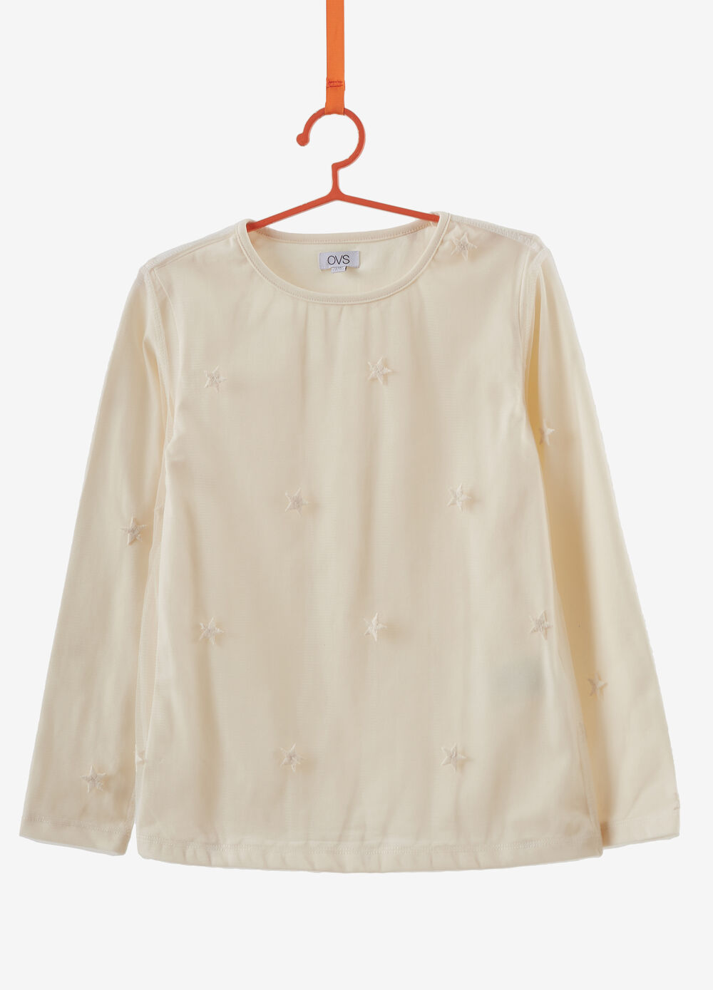 Faux layered stretch cotton T-shirt