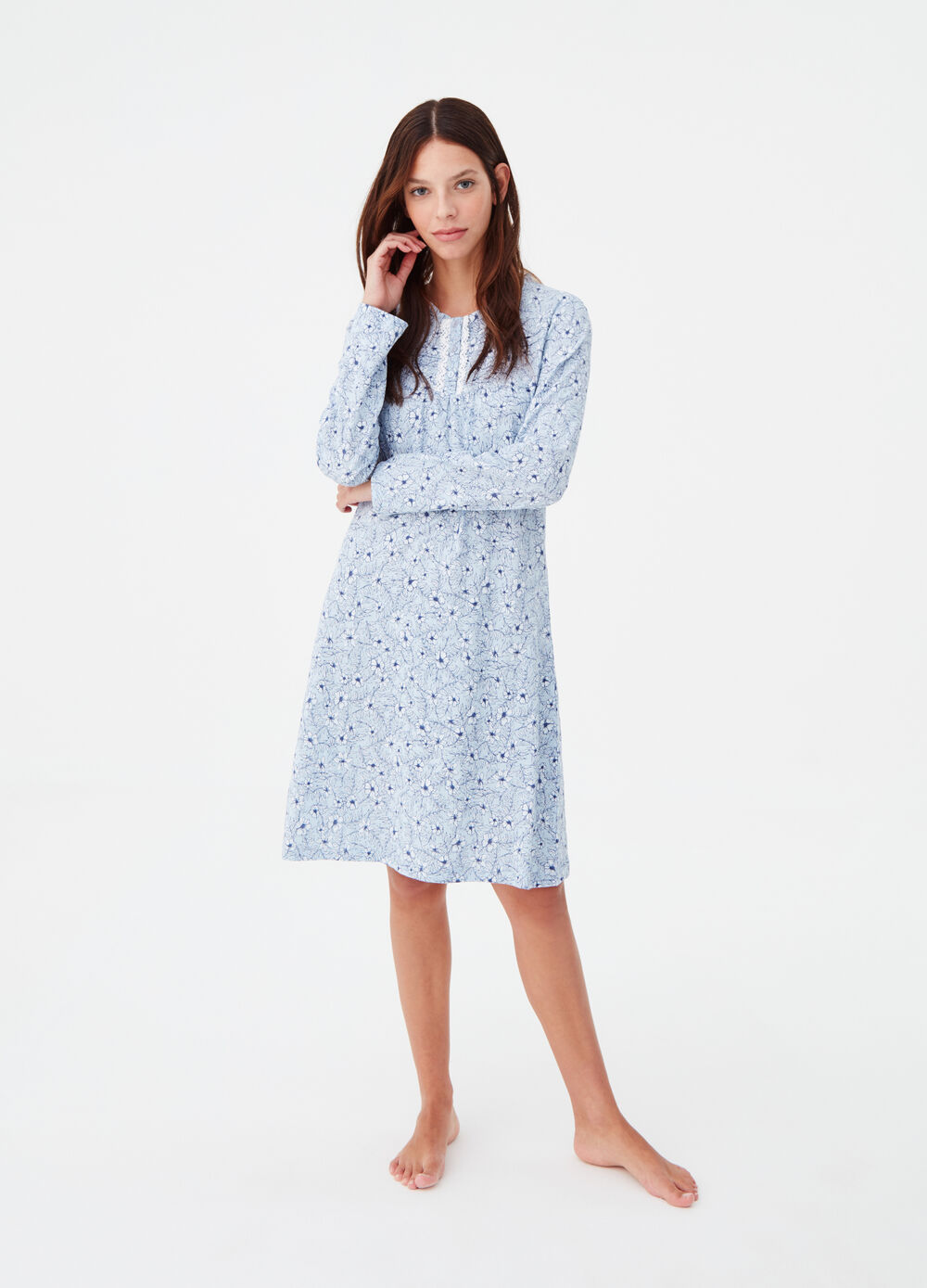 100% cotton patterned nightshirt
