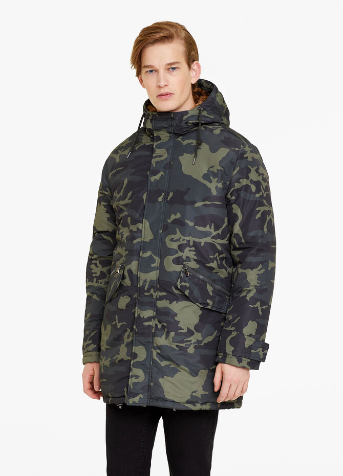 Camouflage parka with hood