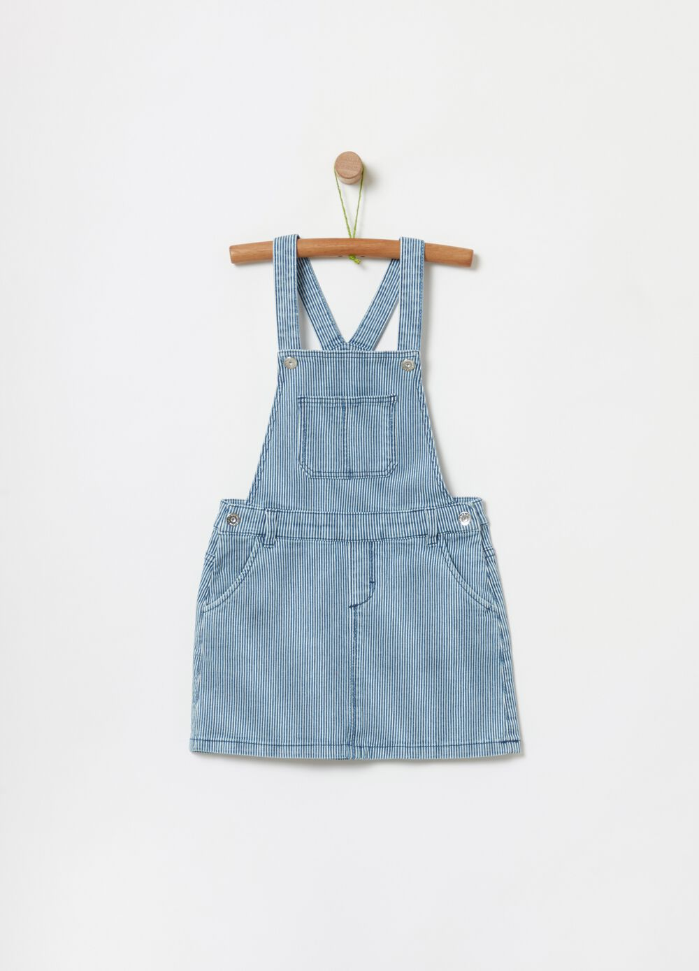 Dungarees with striped pockets