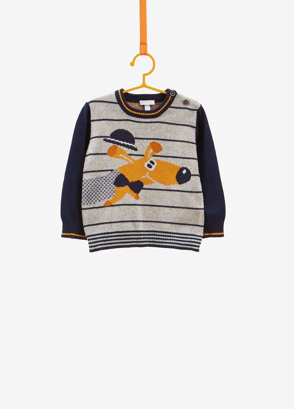 100% cotton pullover with stripes and puppy