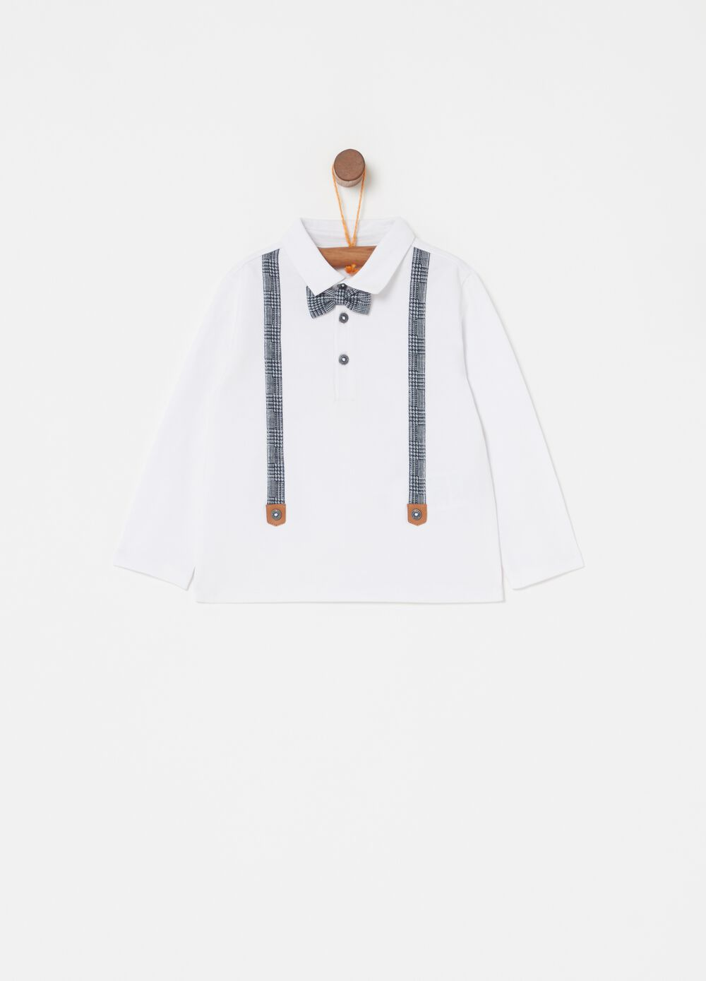 Polo shirt with bow tie and braces insert