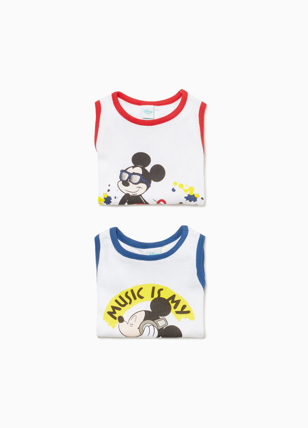 Two-pack Mickey Mouse solid colour 100% cotton bodysuits