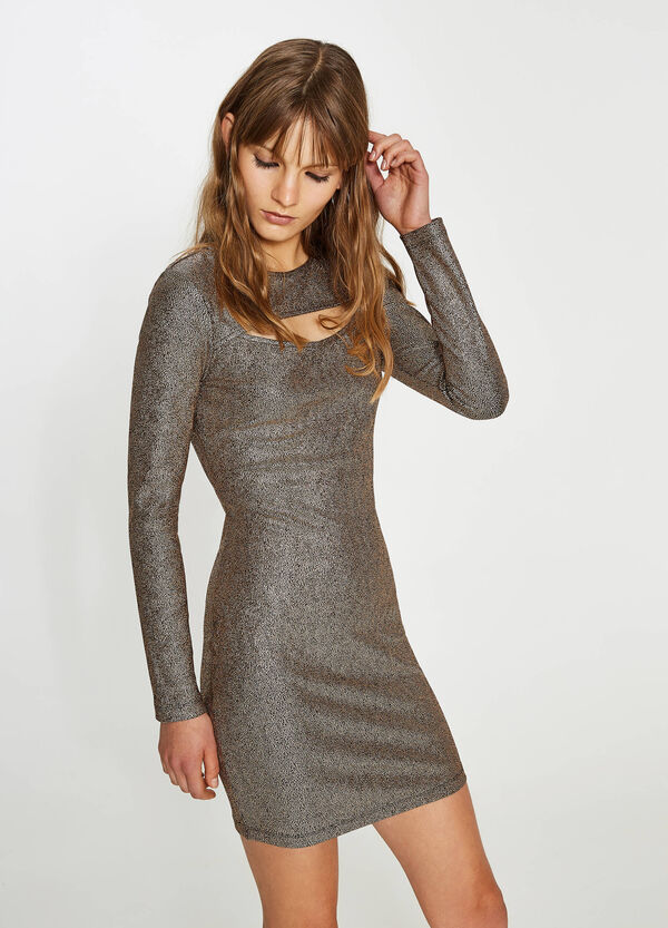 Shiny stretch dress with opening | OVS