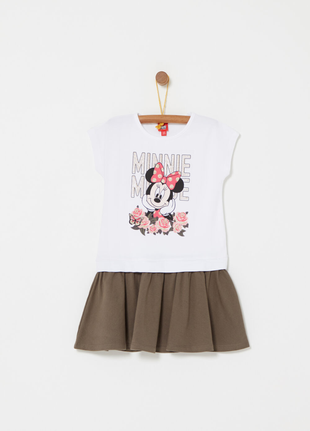 Sleeveless dress with Minnie Mouse print