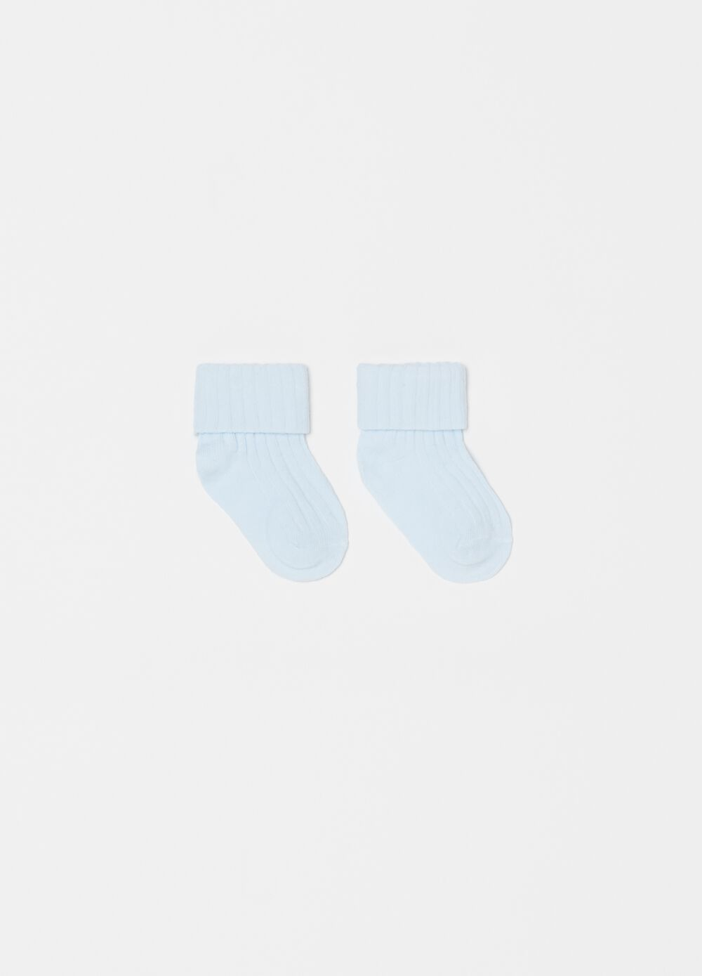 Short socks with fold and striped weave