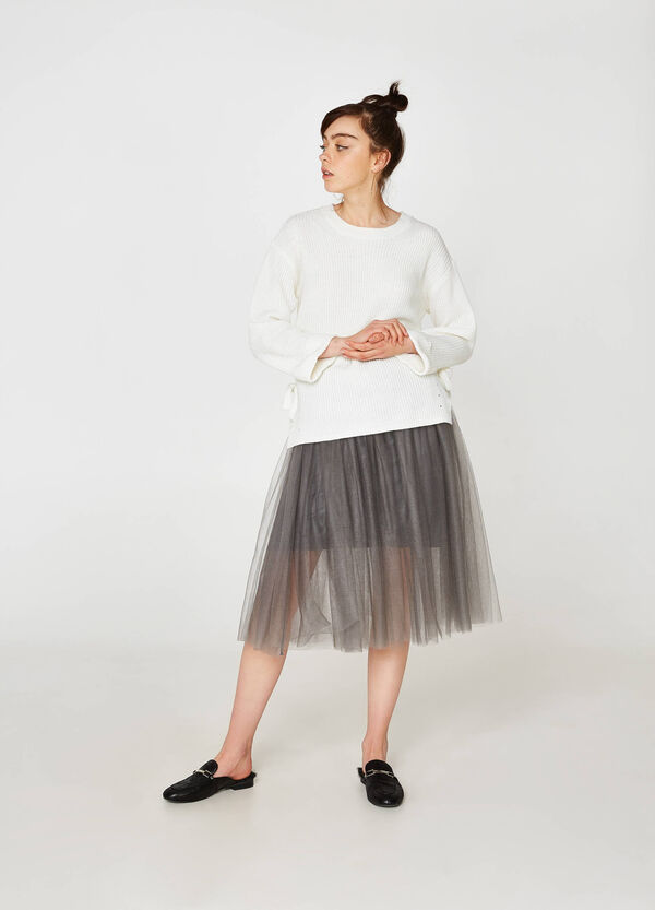 Skirt in stretch tulle with lining