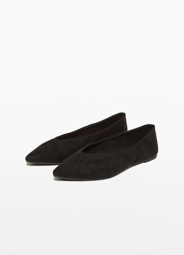 Suede ballerina flats with toe