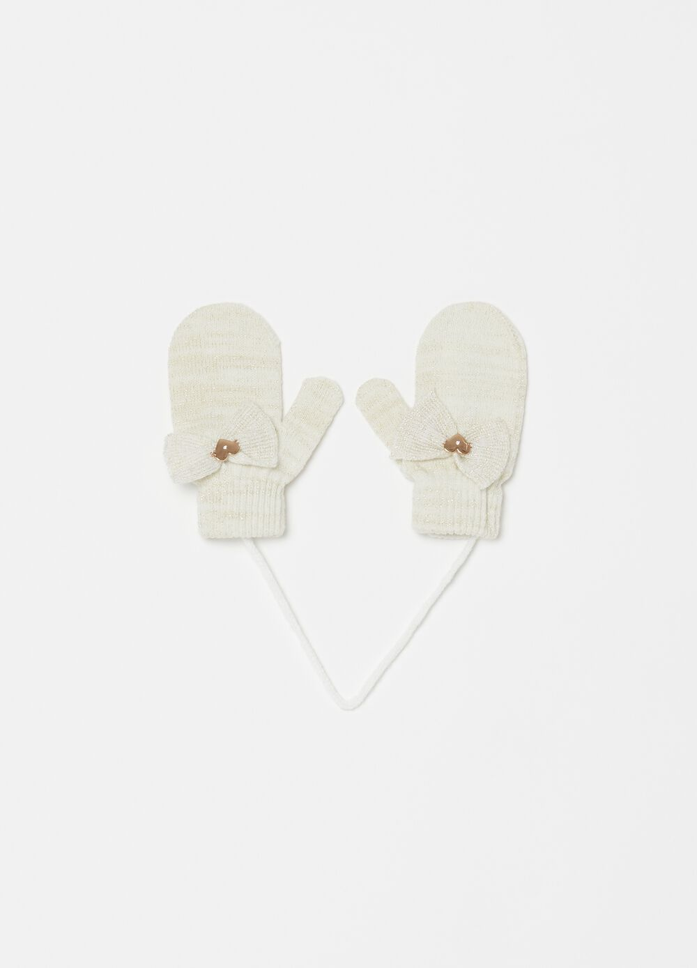 Mélange mittens with lurex and bow
