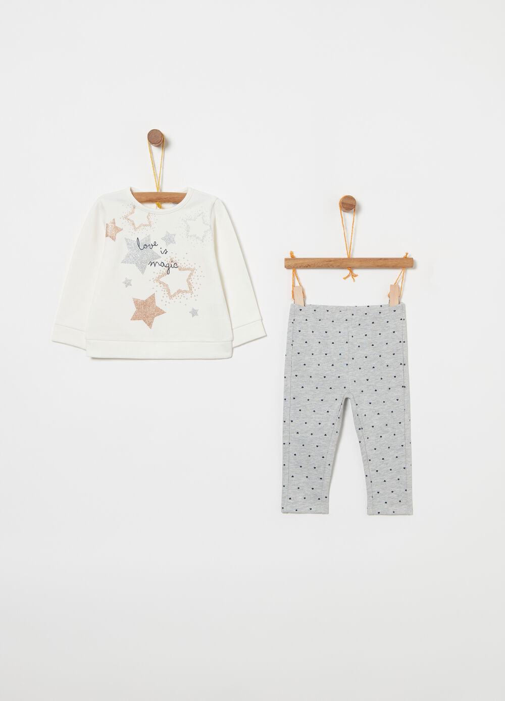 Warm cotton jogging set with pattern