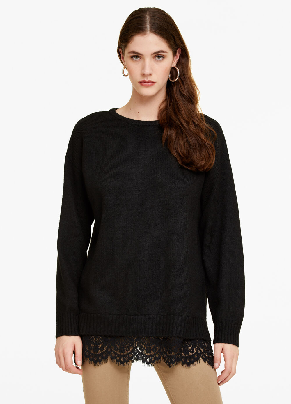 Pullover with lace insert