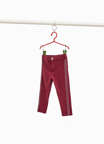 Trousers with diamanté side bands