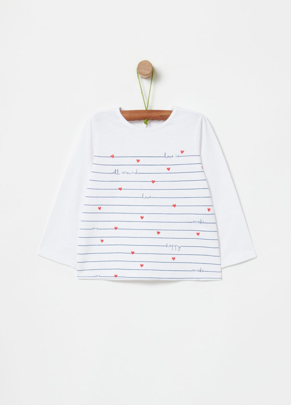T-shirt with stripes and hearts print