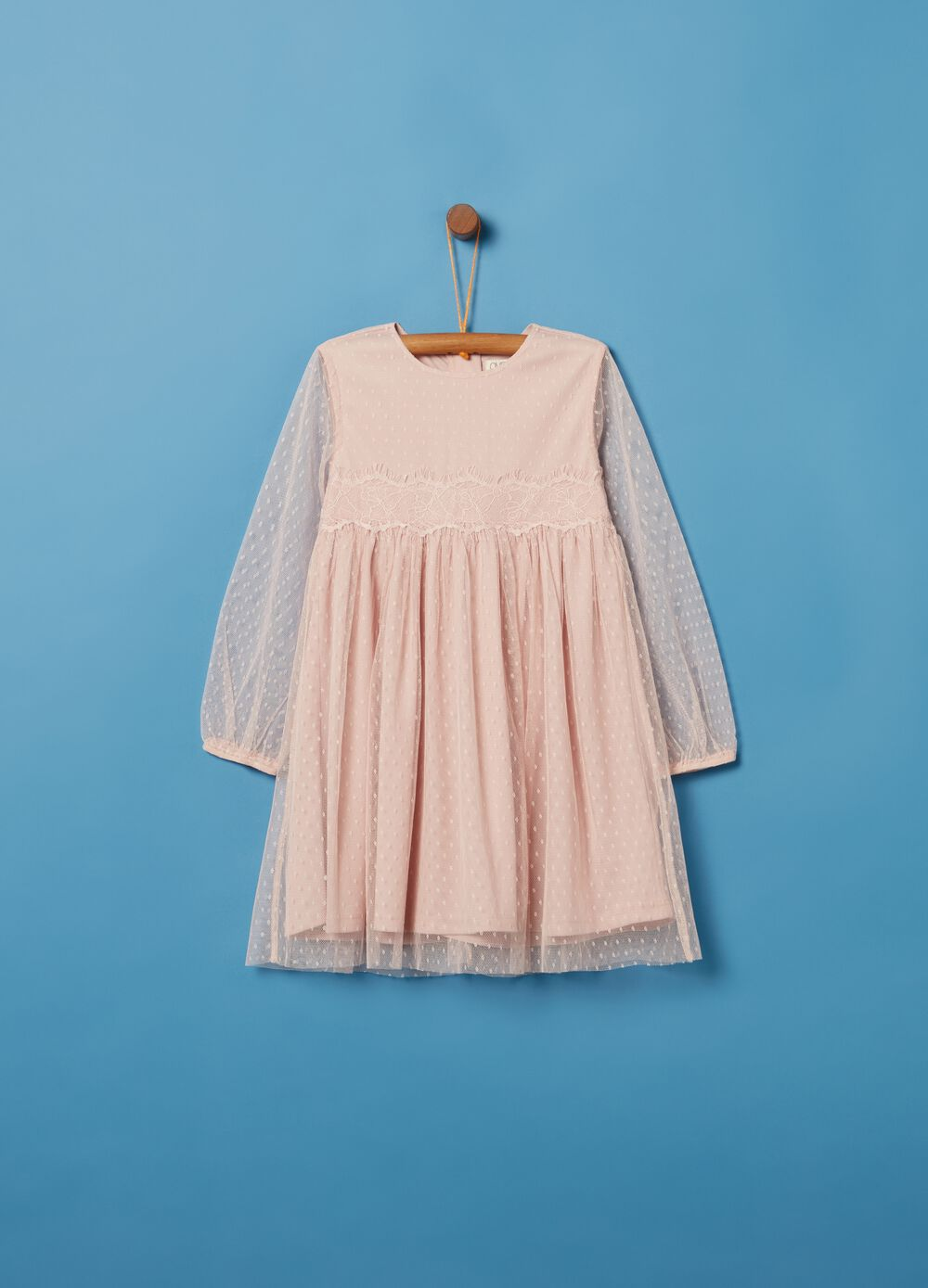 Dress with tulle and polka dots