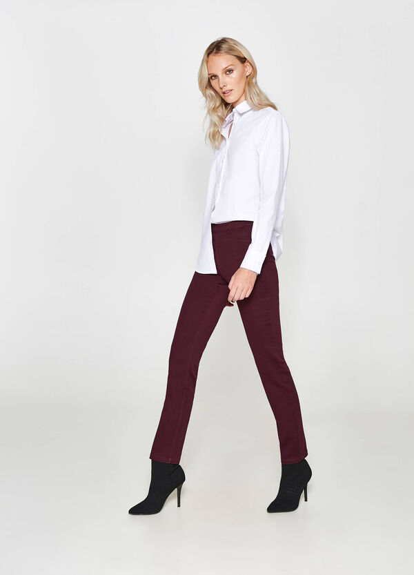 Regular-fit trousers with high waist