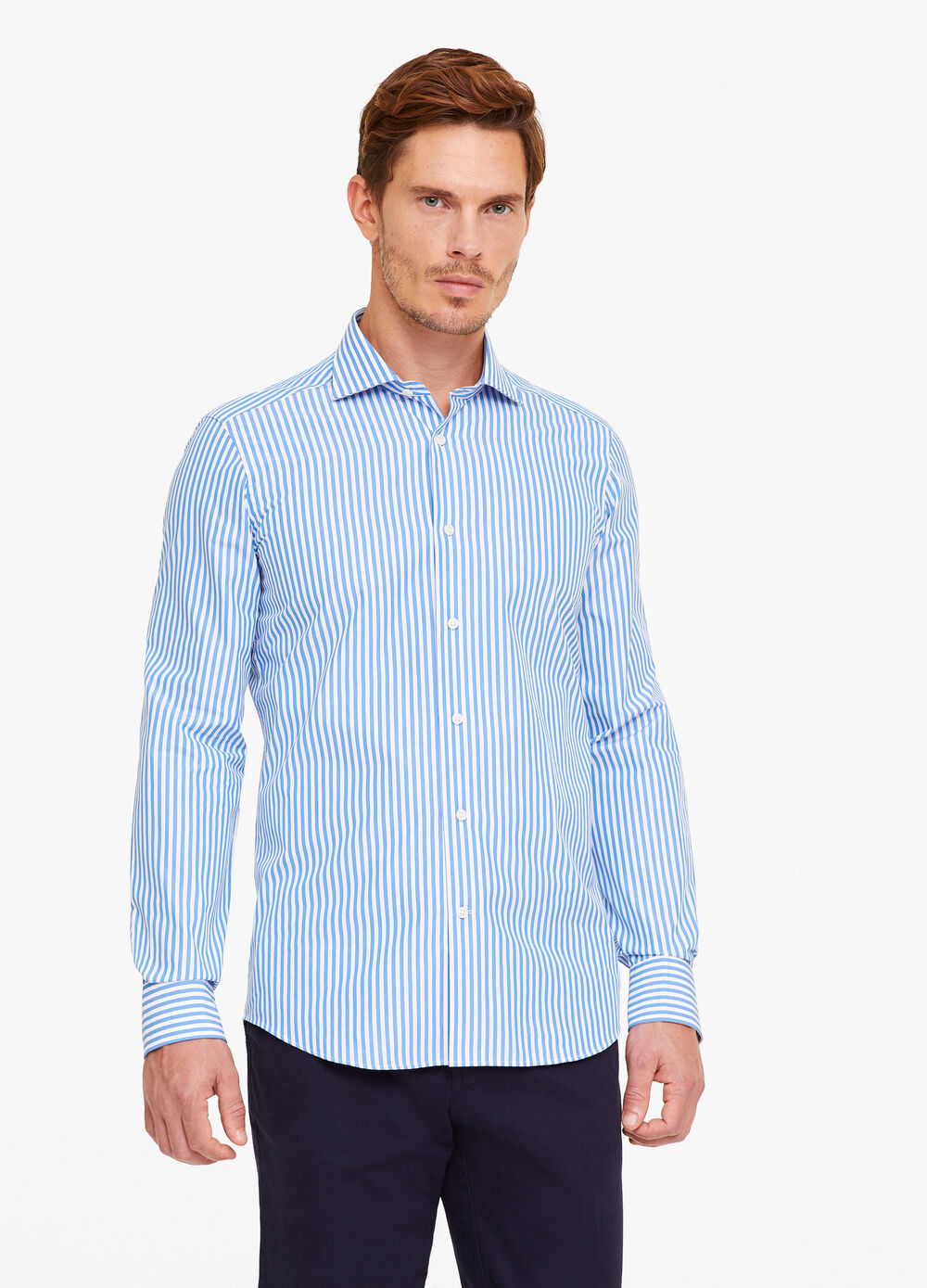 100% cotton striped. slim fit shirt