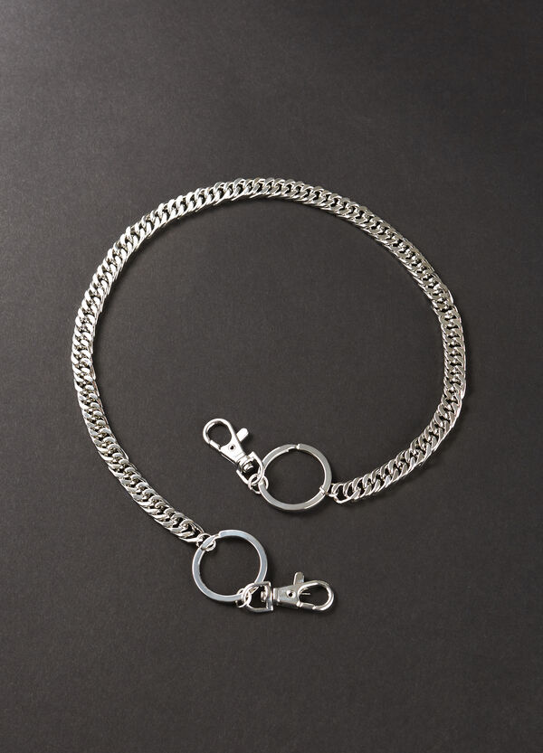 Steel keyring with chain