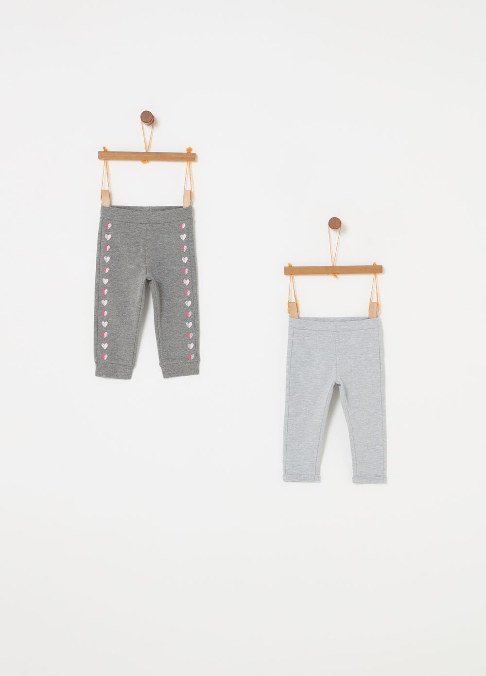 Two-pack mélange trousers with glitter print