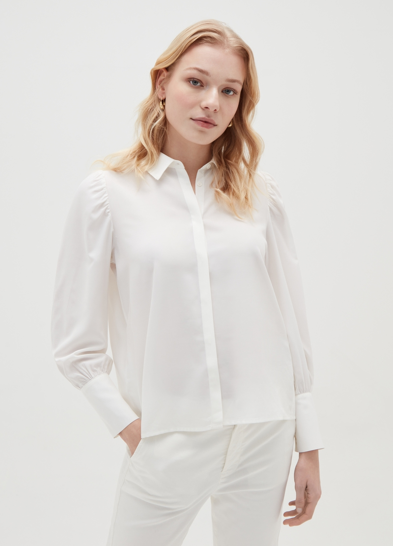 Crêpe shirt with puff sleeves image number null