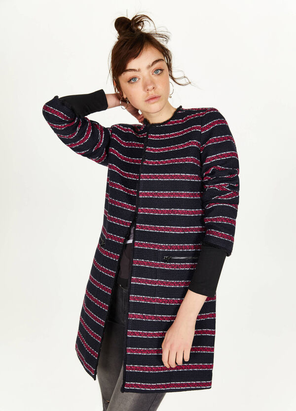 Striped wool blend coat