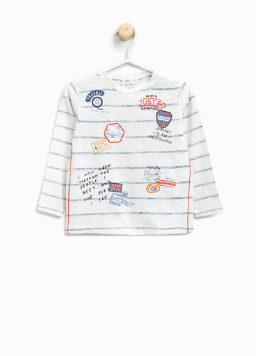 Striped cotton T-shirt with print