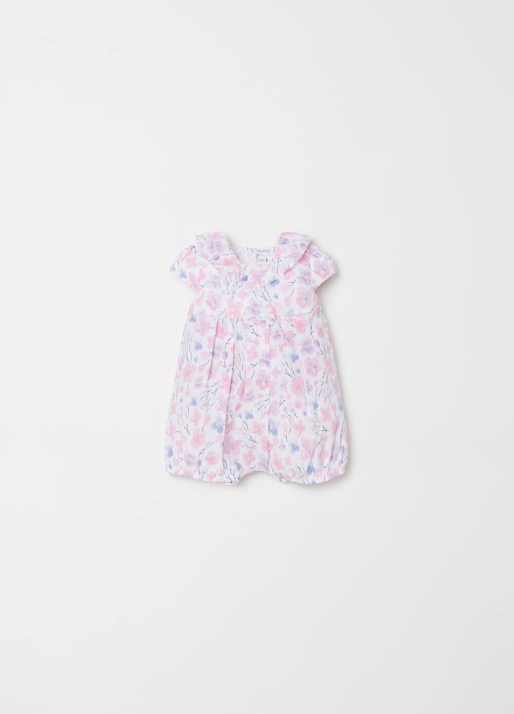 Short onesie with flounce and floral bow