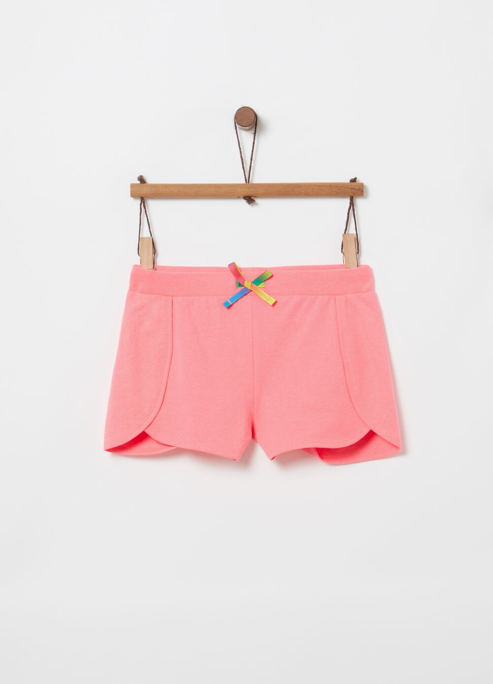 French terry shorts with drawstring and splits