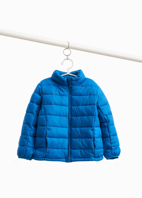 Down jacket with high neck and zip