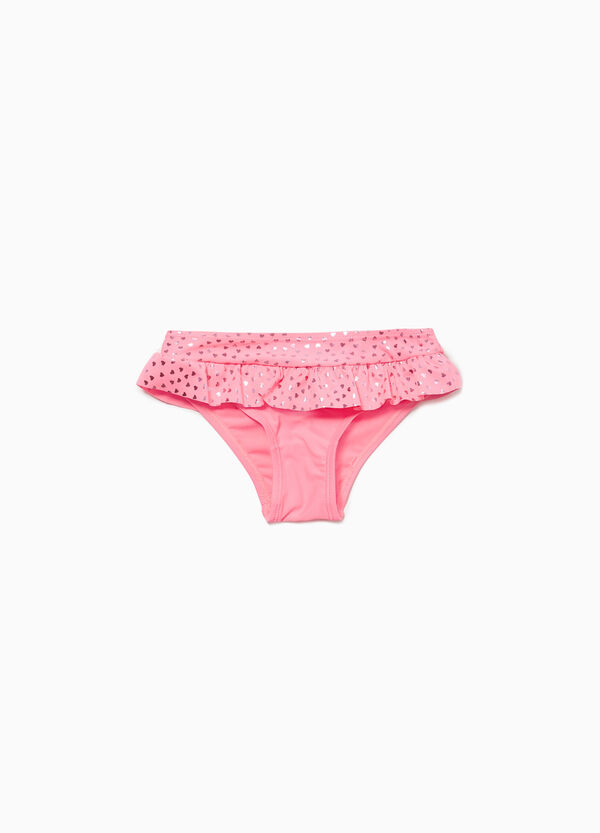 Swim briefs with flounce and heart pattern
