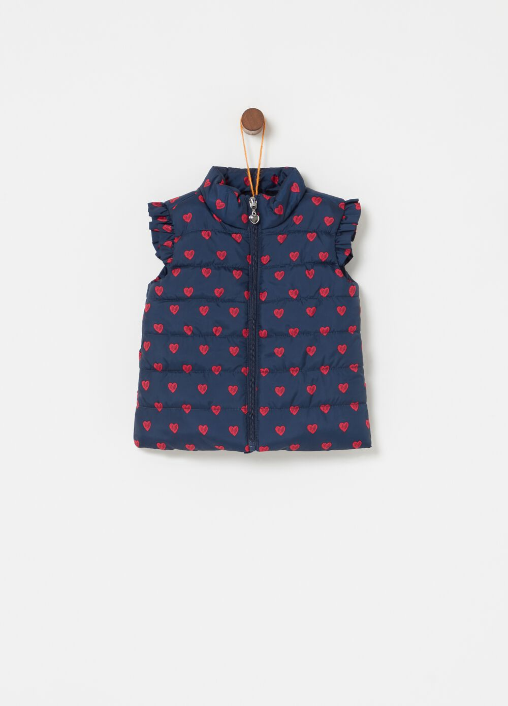 Padded gilet with pleating and hearts