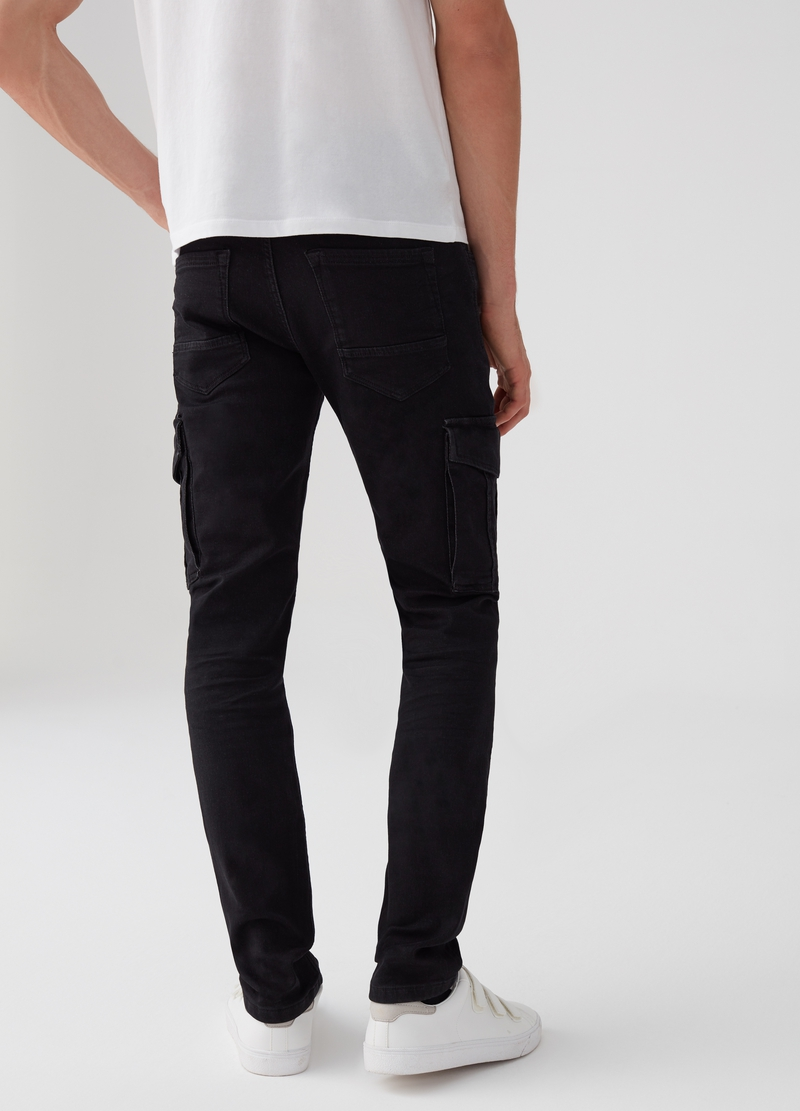 Slim-fit stretch joggers with pockets image number null