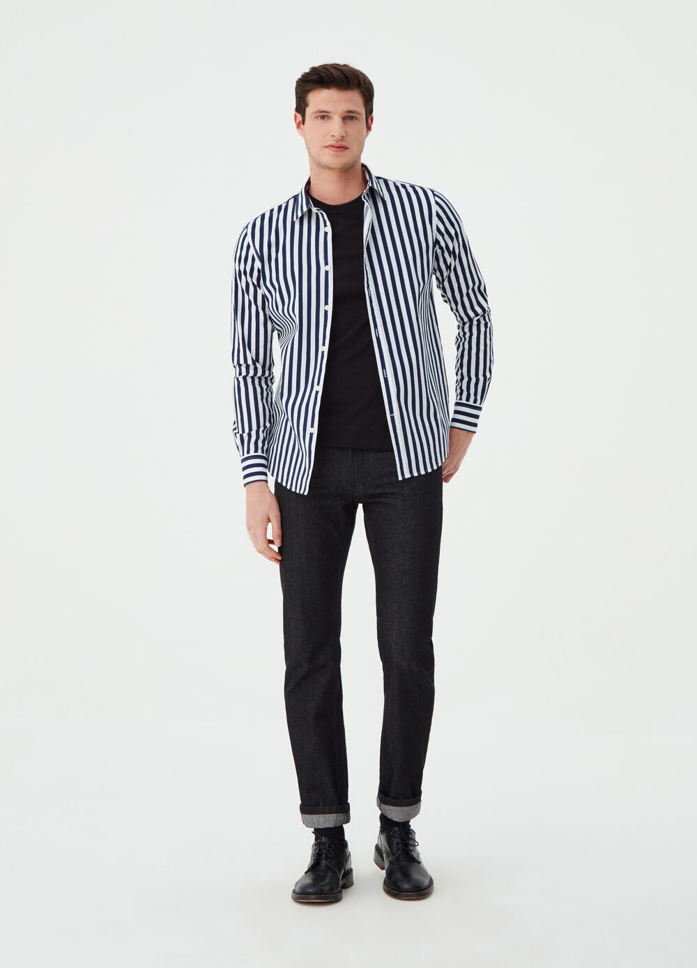Regular-fit shirt in striped poplin