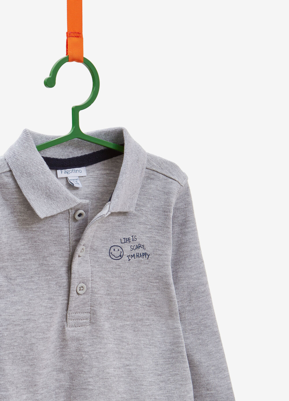 Cotton and viscose polo shirt with printed lettering