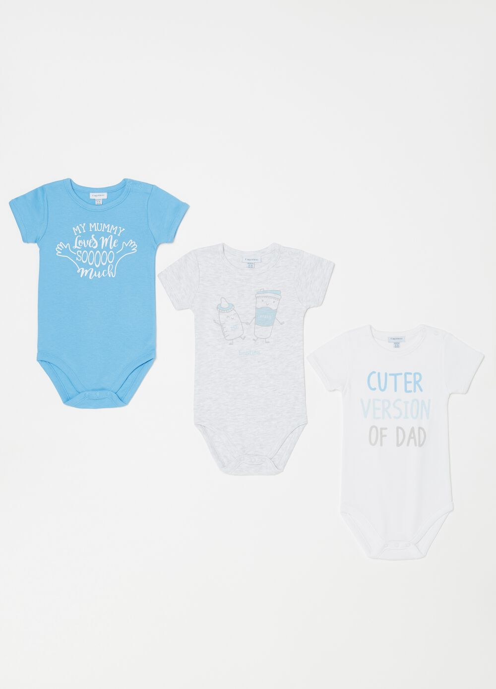 Three-pack biocotton bodysuits with lettering print
