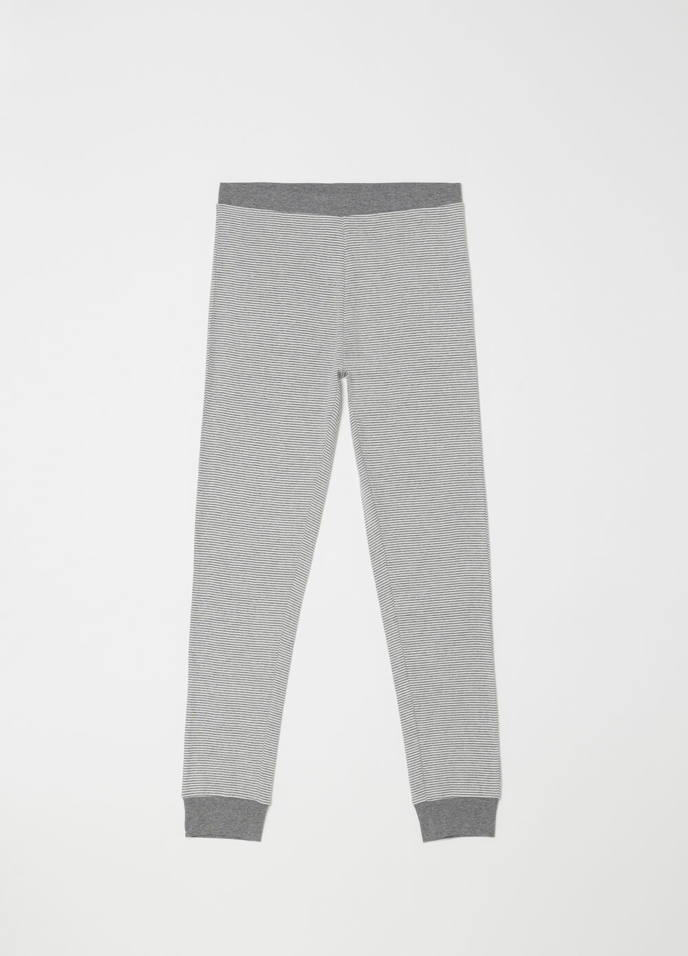 Yarn-dyed warm trousers with striped pattern