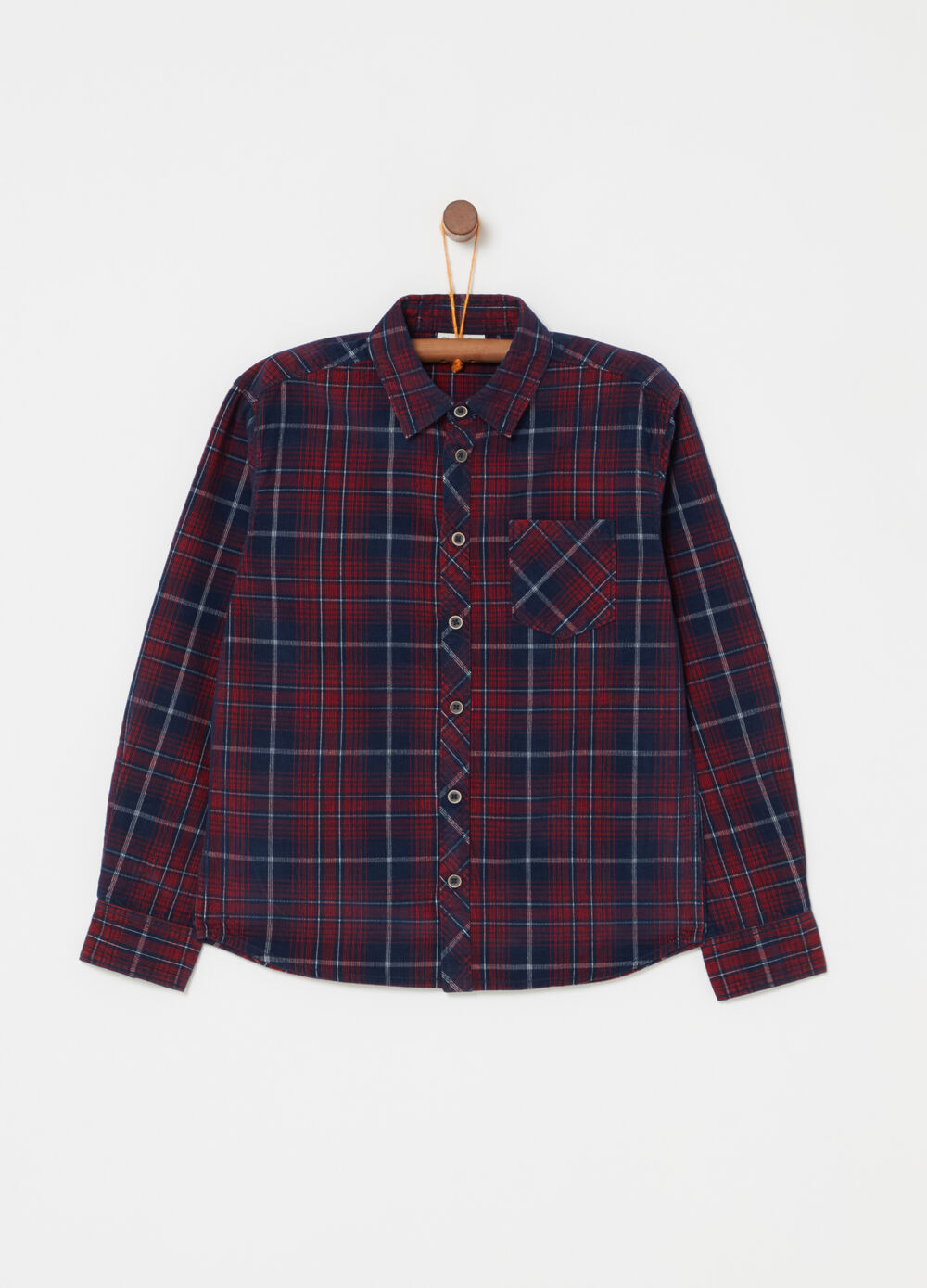 Micro-ribbed check velvet shirt