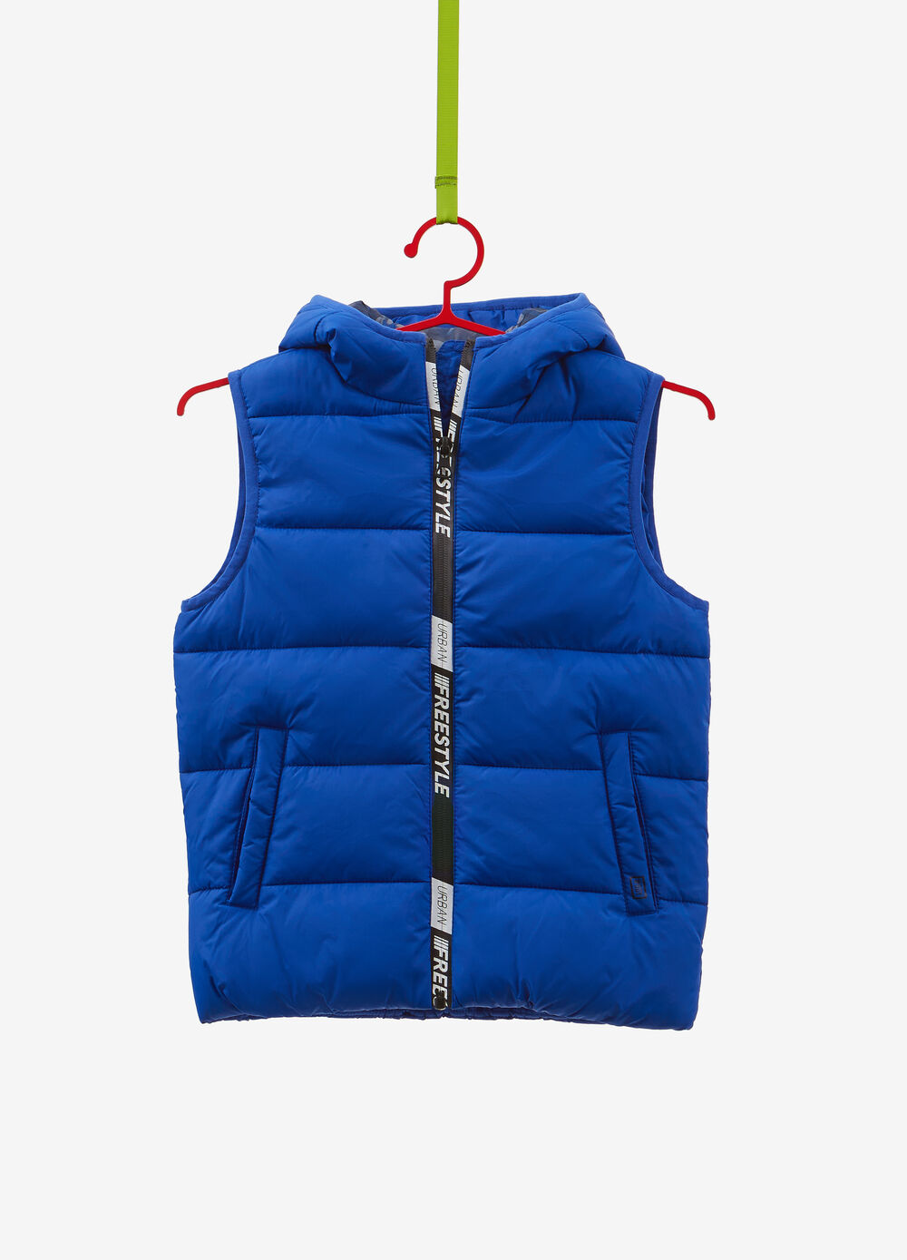 Quilted gilet with printed lettering
