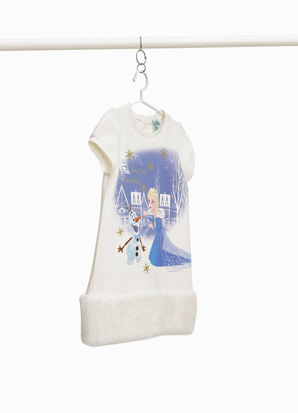 Stretch cotton dress with Frozen print