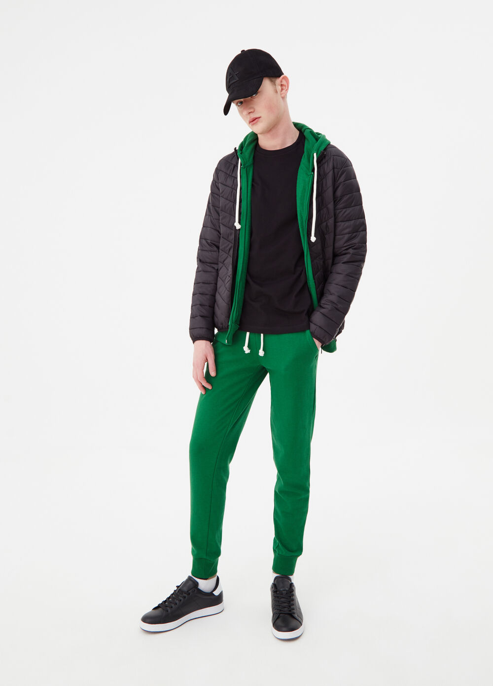 Trousers in French Terry with ribbing