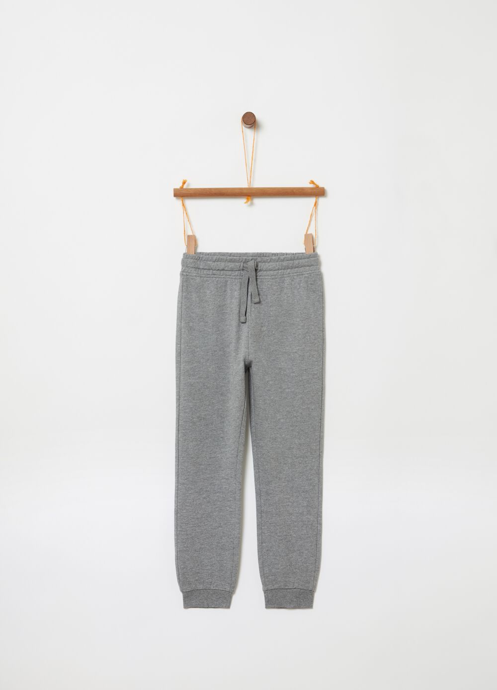 Mélange trousers with drawstring and pocket
