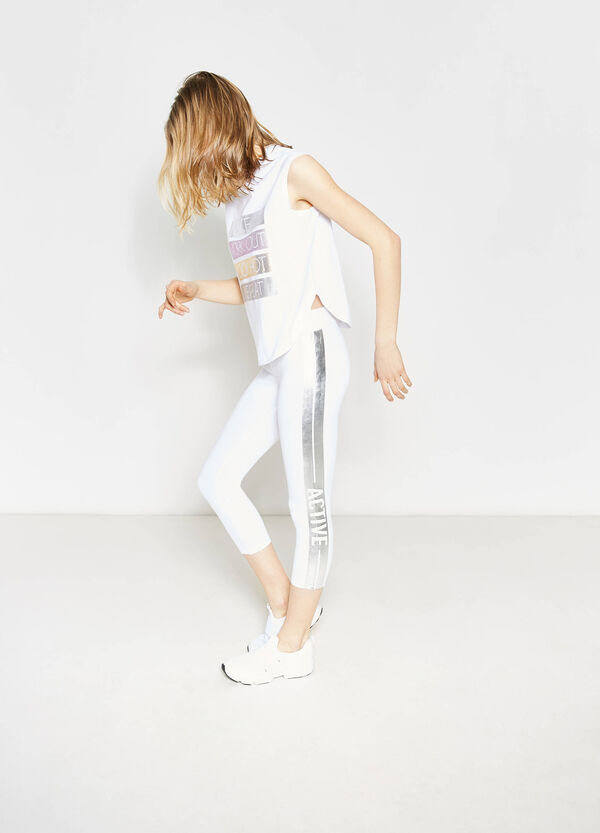 Crop leggings with contrasting print   OVS