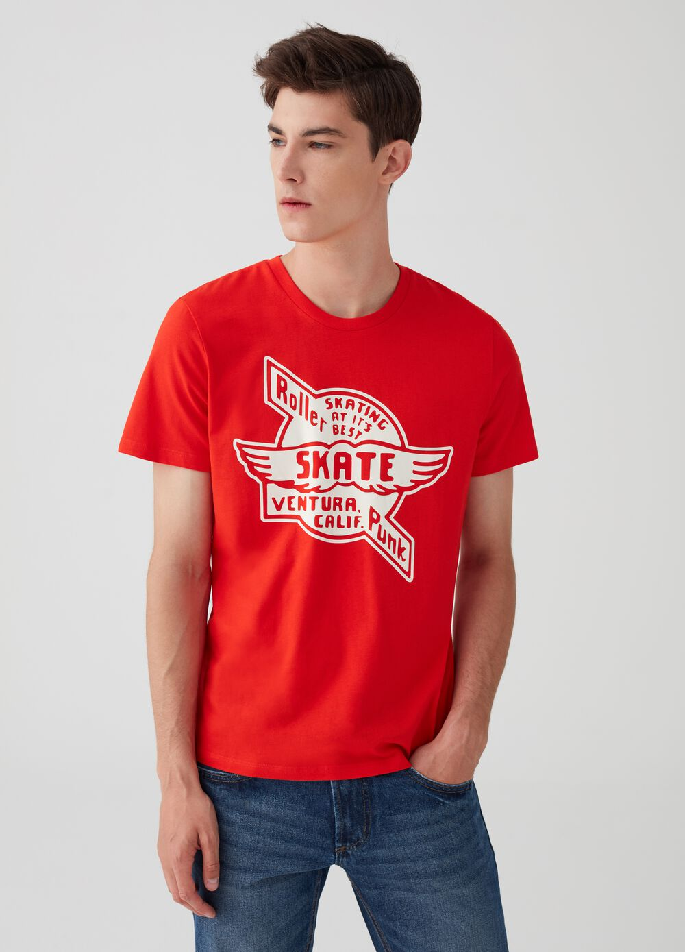 100% cotton T-shirt with lettering and skate print