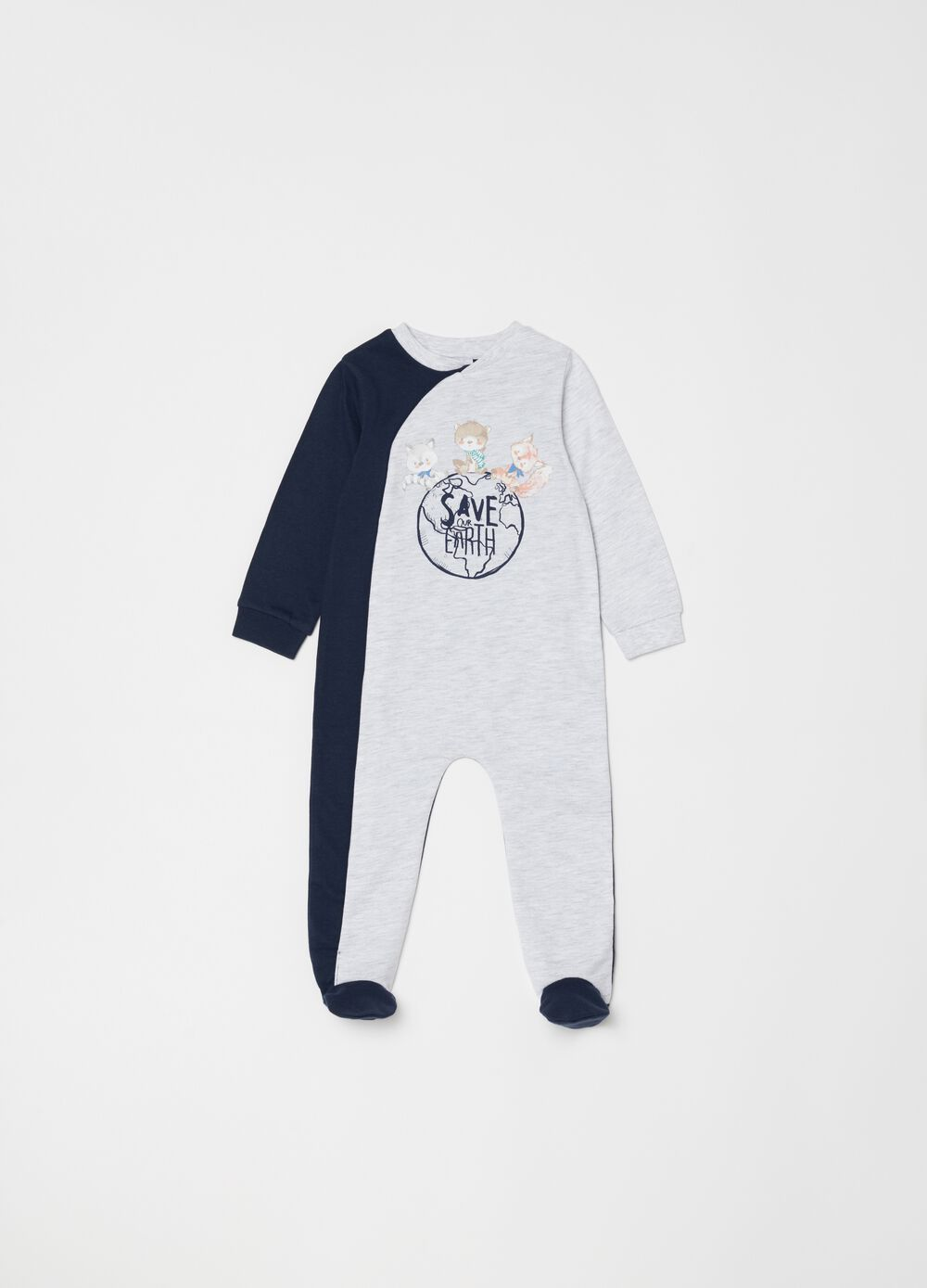Two-tone onesie with feet and print