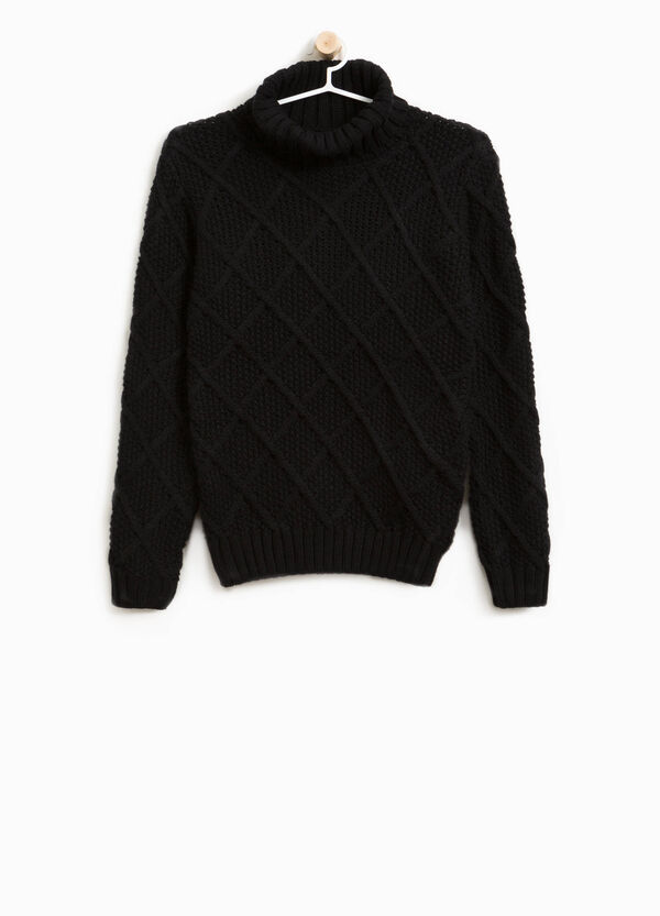Solid colour knitted  turtleneck jumper with high neck | OVS