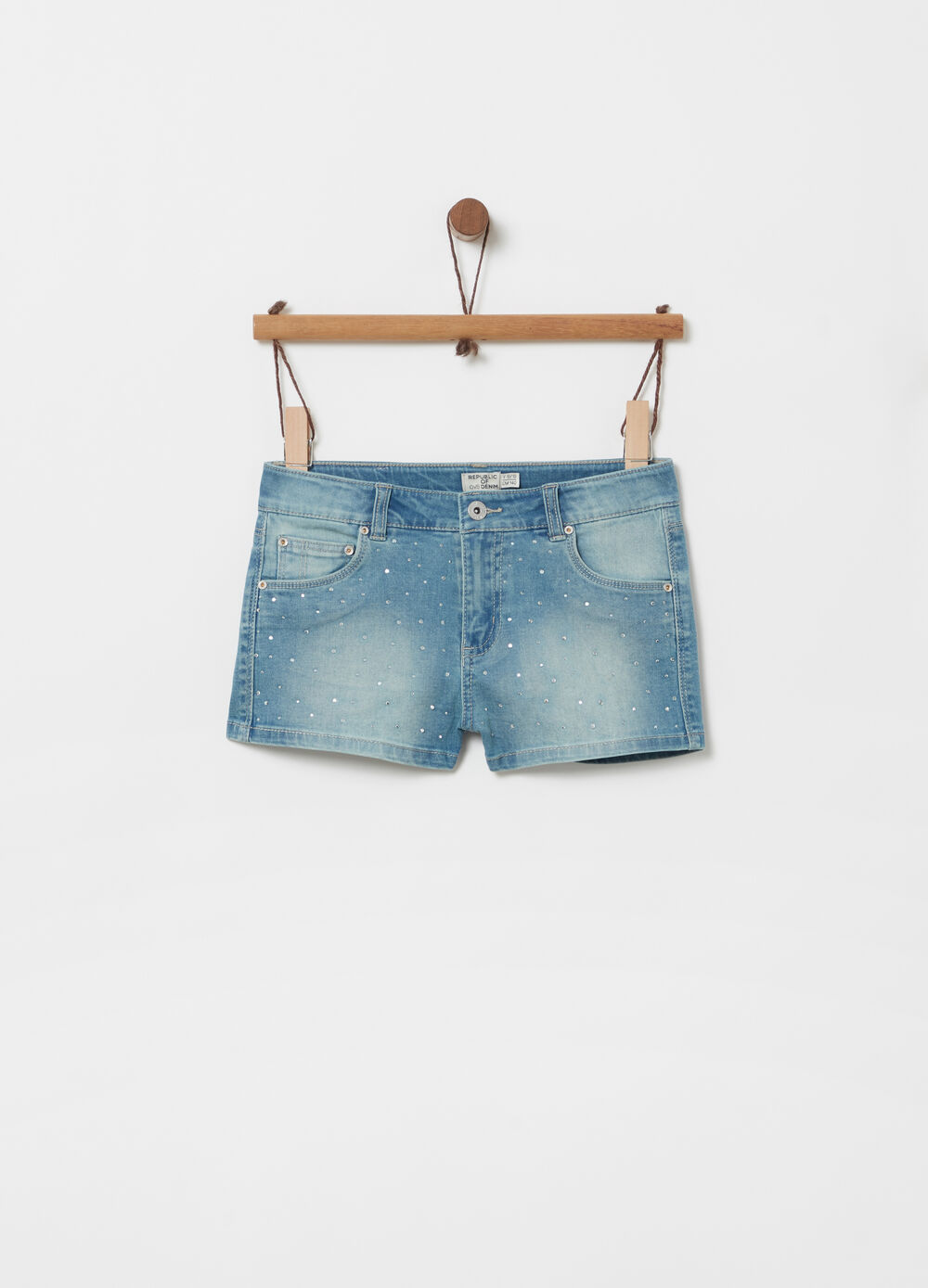 Denim shorts with adjustable waist, studs and pockets