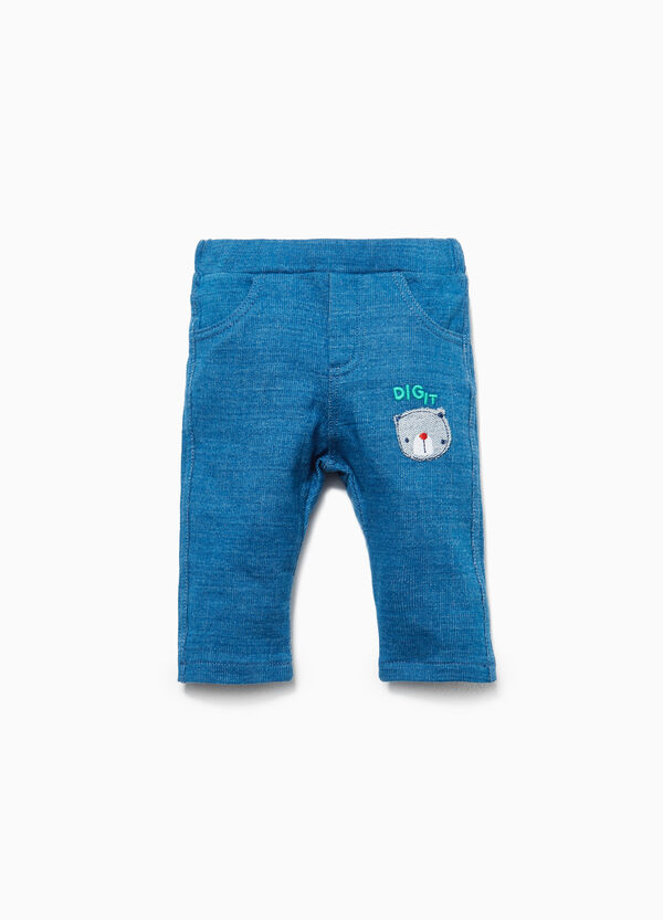 Trousers in 100% cotton with teddy bear patch