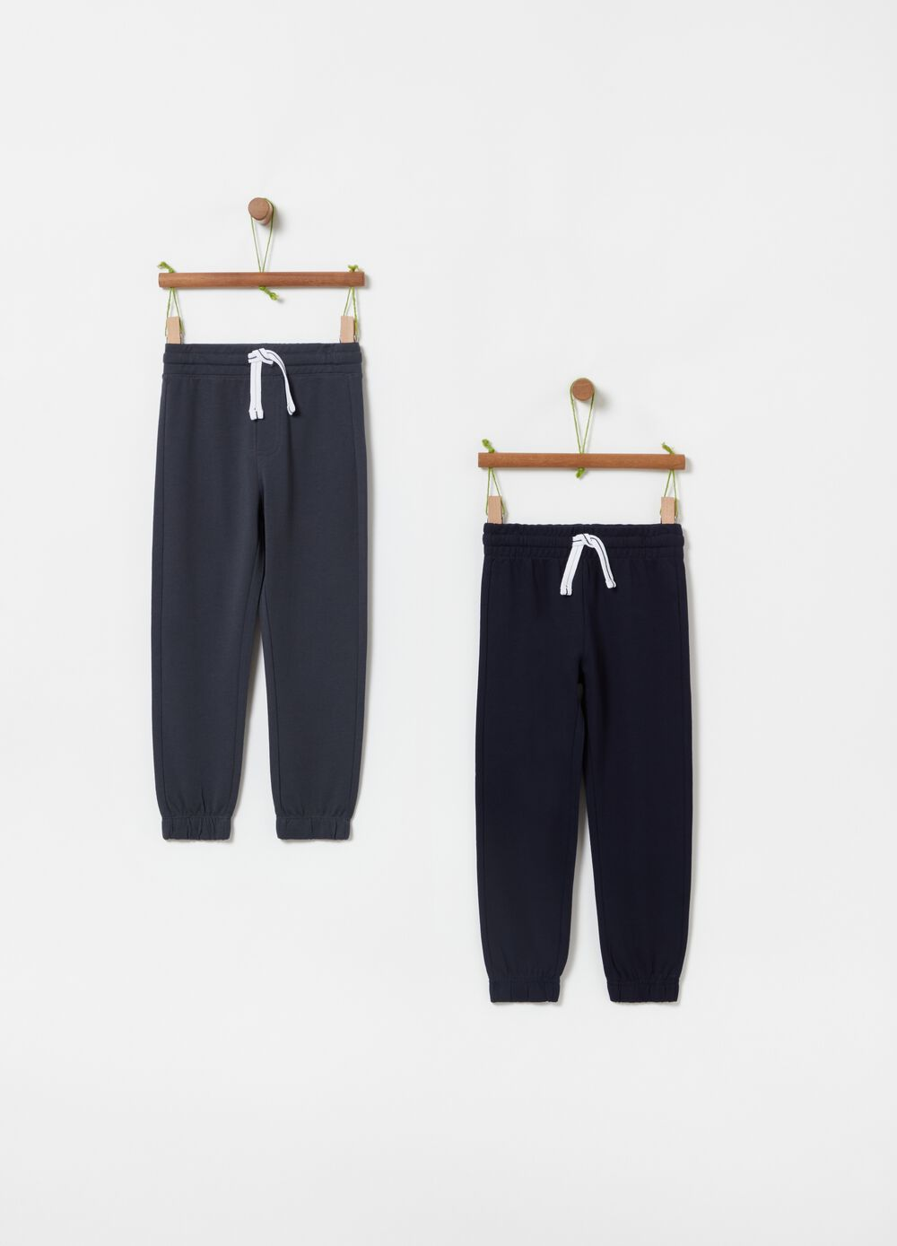 Two-pack solid colour 100% cotton joggers