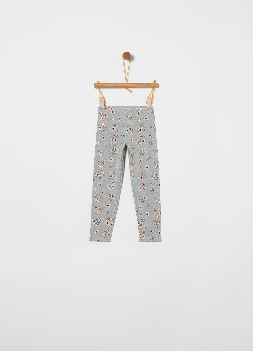 Stretch jersey mélange leggings with pattern