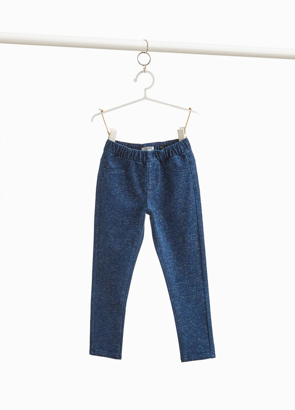 Stretch jeggings with lurex